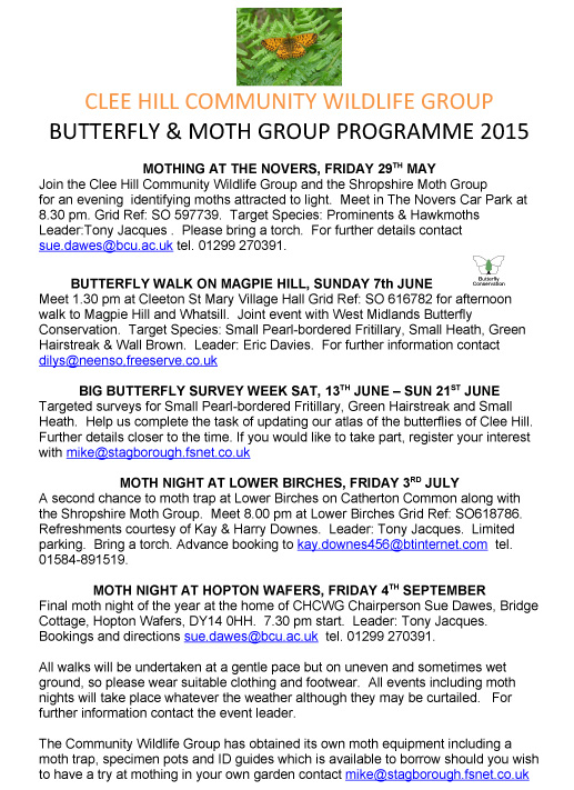 Clee Hill Butterfly & Moth Group Summer Programme 2015