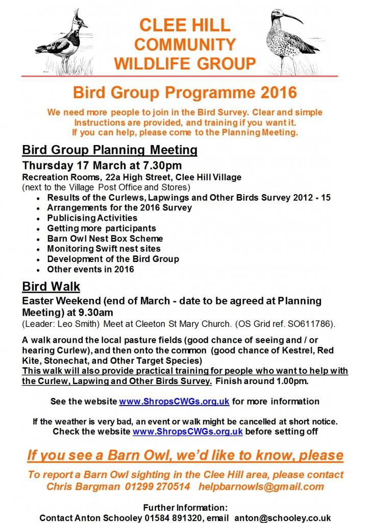 Bird Group events 2016