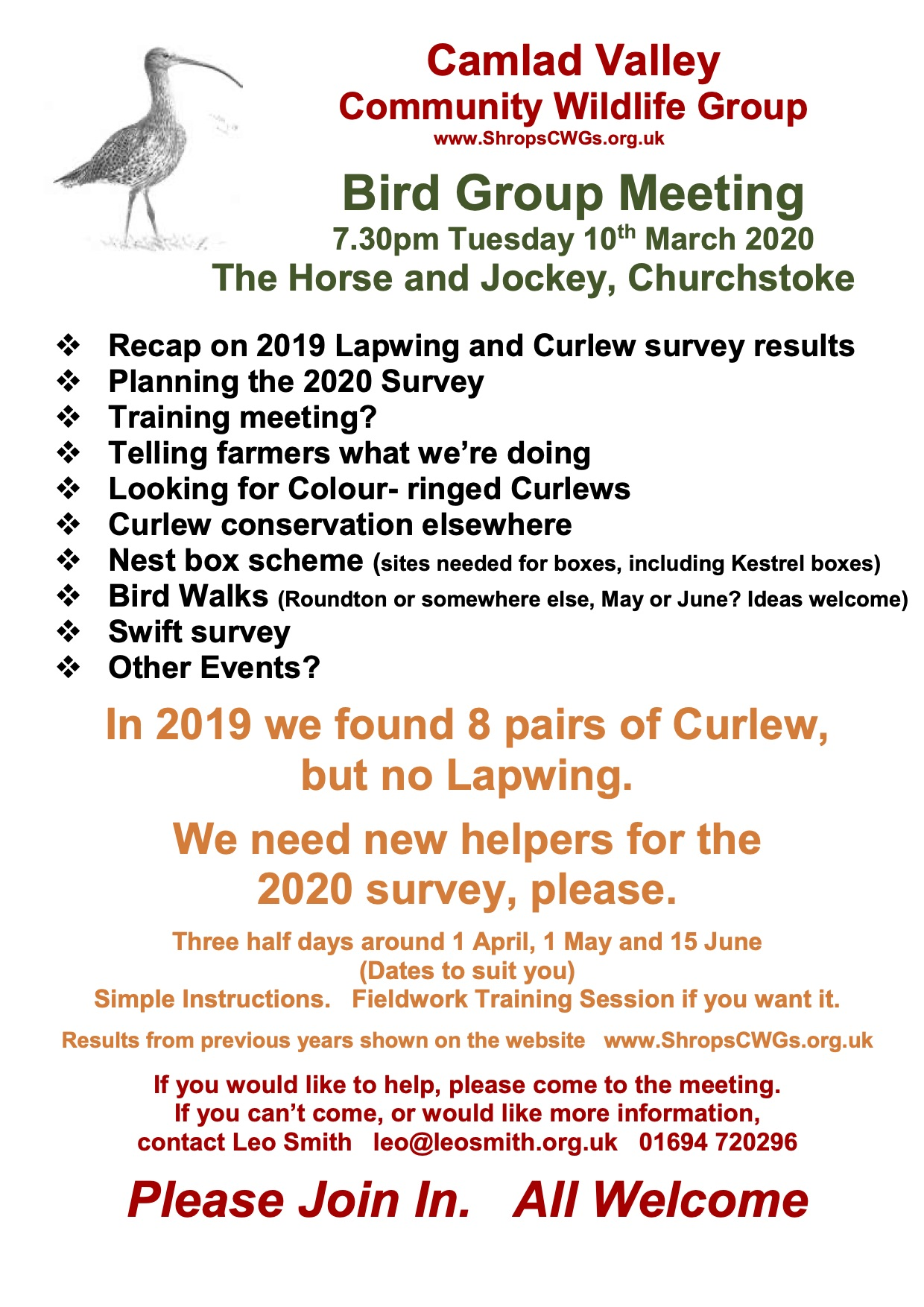Camlad Valley CWG Bird Group 10 March 2020