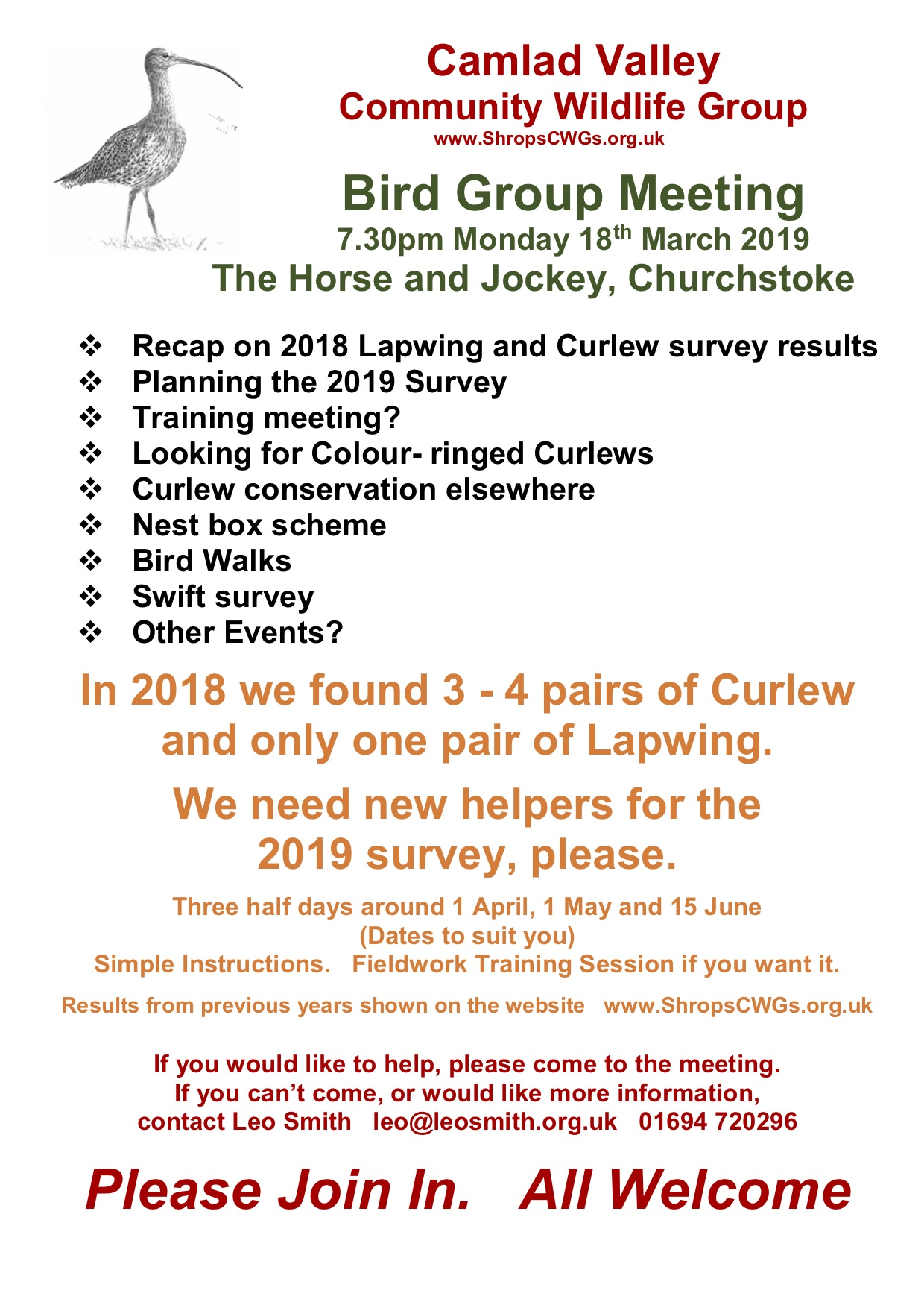 Camlad Valley CWG Bird Group 18 March 2019
