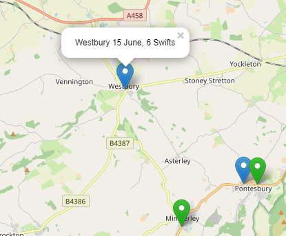 Map of swift sighting